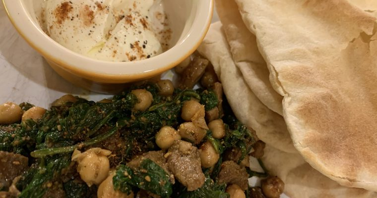 Lamb, spinach, chickpeas