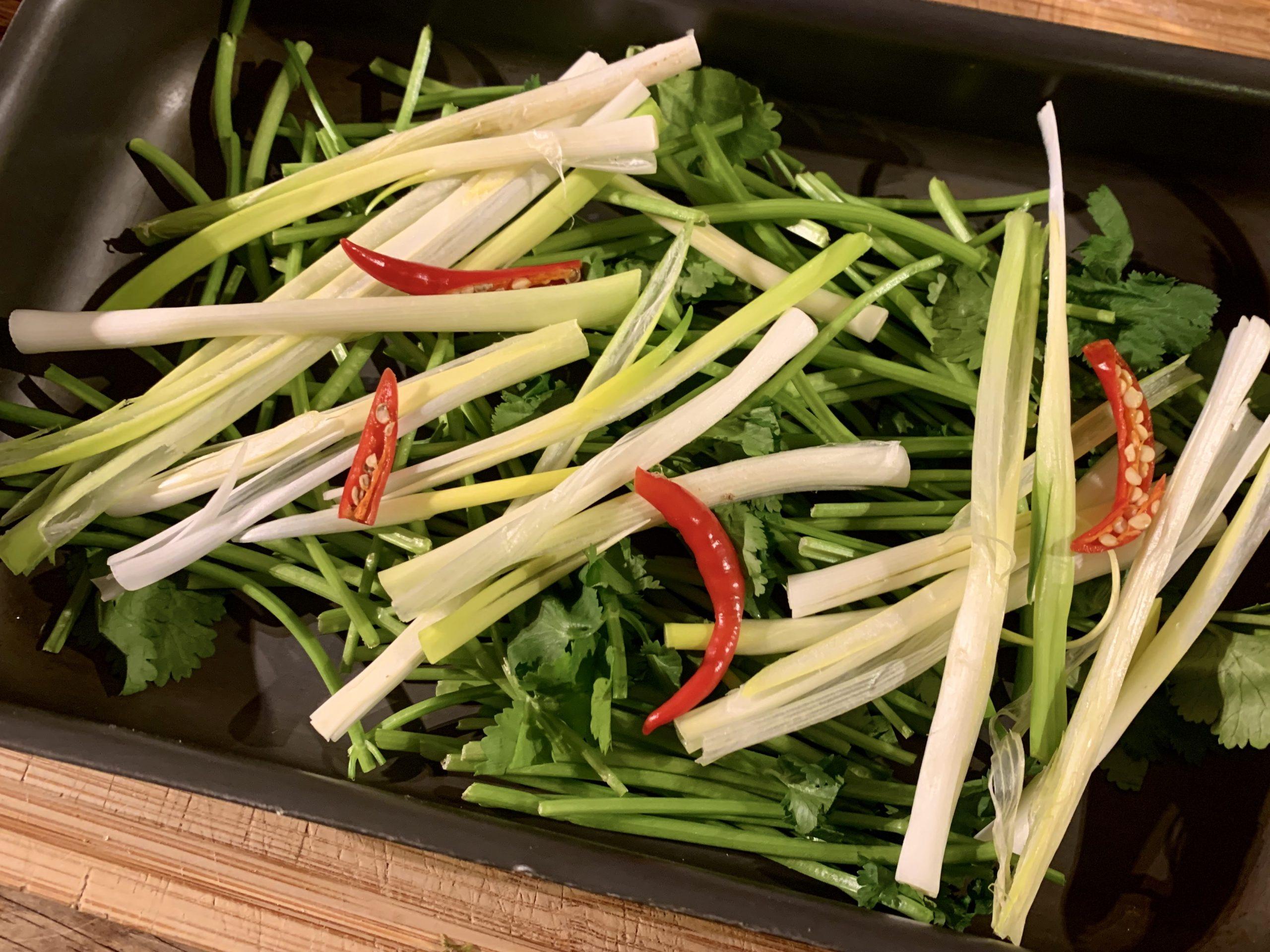 Onions, coriander, chillies